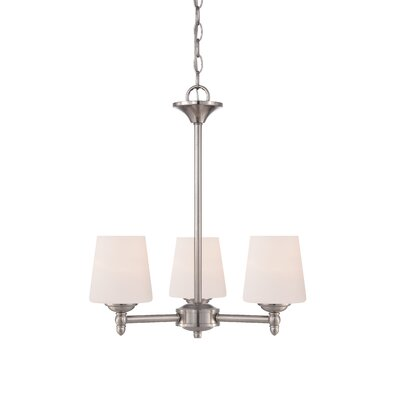 Lafrance 3-Light Shaded Chandelier Finish: Brushed Nickel