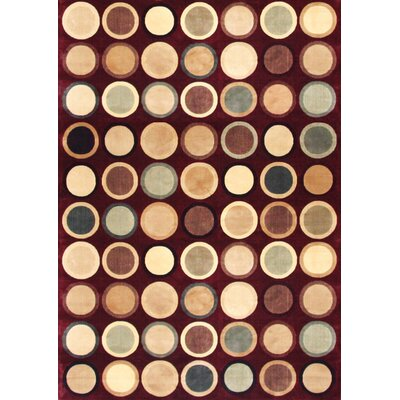 Glencoe Burgundy/Tan/Beige/Sage Area Rug Rug Size: 710 x 112