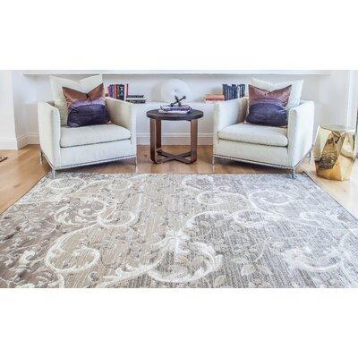 Glencoe Grey/Chocolate Area Rug Rug Size: 53 x 76