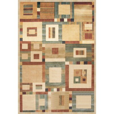 Glencoe Beige/Tan/Aqua/Rust Area Rug Rug Size: 53 x 76