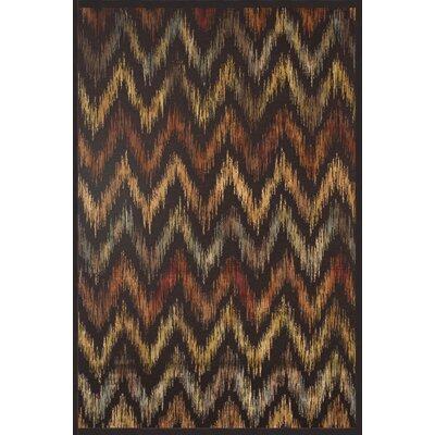Glencoe Chocolate/Rust/Tan/Aqua Area Rug Rug Size: 53 x 76