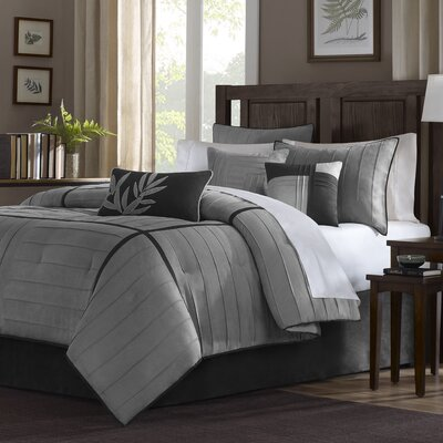 Gloria 7 Piece Comforter Set Color: Grey, Size: King