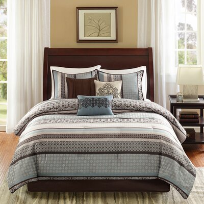 Gloucester 7 Piece Reversible Comforter Set Color: Blue, Size: King
