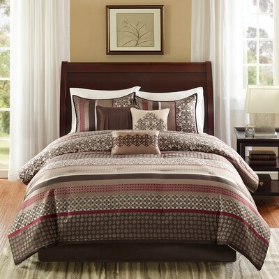 Gloucester 7 Piece Reversible Comforter Set Size: Queen, Color: Red