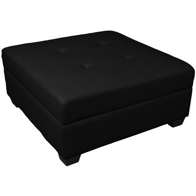 Grace Ottoman Upholstery: Leather Look Black
