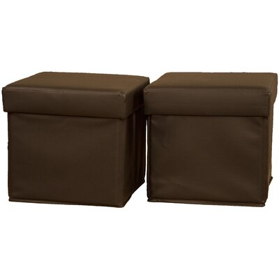 Grace Ottoman Upholstery: Leather Look Brown