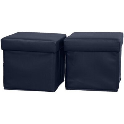 Grace Storage Ottoman Upholstery: Leather Look Navy
