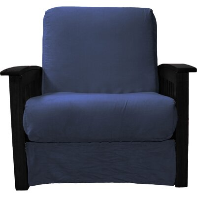 Grandview Chair Futon Chair Frame Finish: Black Wood, Upholstery: Suede Dark Blue