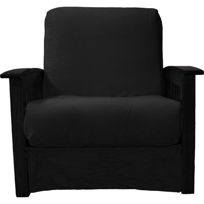 Grandview Chair Futon Chair Frame Finish: Black Wood, Upholstery: Suede Ebony Black