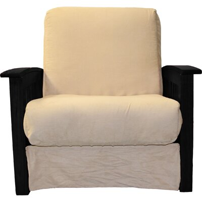 Grandview Chair Futon Chair Frame Finish: Black Wood, Upholstery: Suede Khaki