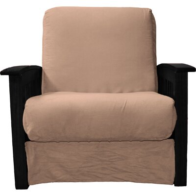 Grandview Chair Futon Chair Frame Finish: Black Wood, Upholstery: Suede Mocha Brown