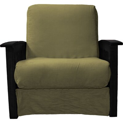 Grandview Chair Futon Chair Frame Finish: Black Wood, Upholstery: Suede Olive Green