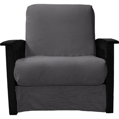 Grandview Chair Futon Chair Frame Finish: Black Wood, Upholstery: Suede Slate Grey