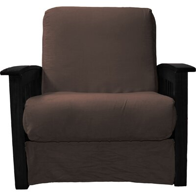 Grandview Chair Futon Chair Frame Finish: Black Wood, Upholstery: Suede Chocolate Brown