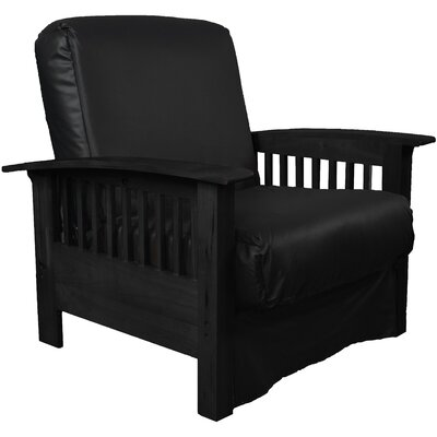 Grandview Chair Futon Chair Frame Finish: Black Wood, Upholstery: Leather Look Black
