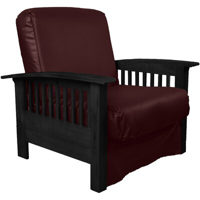 Grandview Chair Futon Chair Frame Finish: Black Wood, Upholstery: Leather Look Bordeaux
