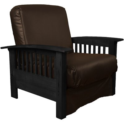 Grandview Chair Futon Chair Frame Finish: Black Wood, Upholstery: Leather Look Brown