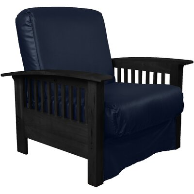 Grandview Chair Futon Chair Frame Finish: Black Wood, Upholstery: Leather Look Navy