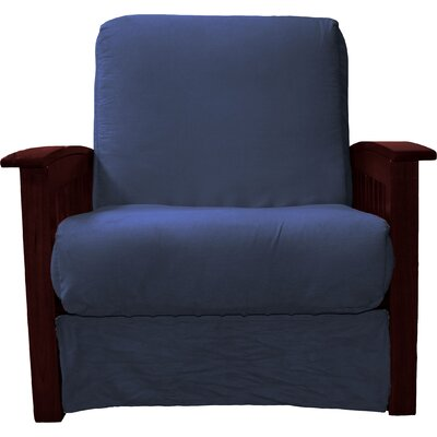 Grandview Chair Futon Chair Upholstery: Suede Dark Blue, Frame Finish: Mahogany Wood