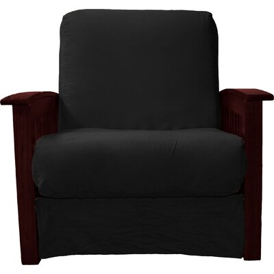 Grandview Chair Futon Chair Frame Finish: Mahogany Wood, Upholstery: Suede Ebony Black