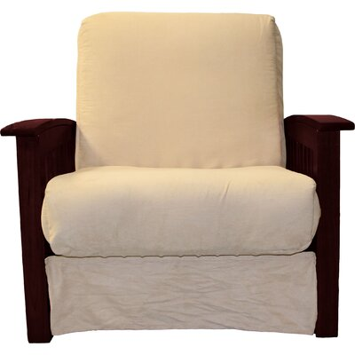 Grandview Chair Futon Chair Upholstery: Suede Khaki, Frame Finish: Mahogany Wood