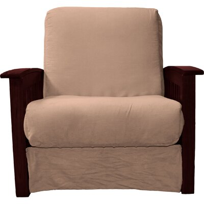 Grandview Chair Futon Chair Upholstery: Suede Mocha Brown, Frame Finish: Mahogany Wood