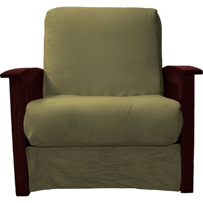 Grandview Chair Futon Chair Frame Finish: Mahogany Wood, Upholstery: Suede Olive Green