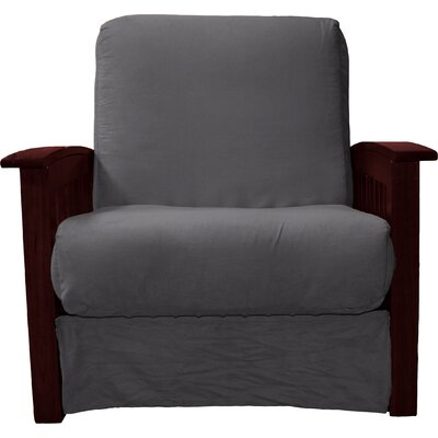 Grandview Chair Futon Chair Upholstery: Suede Slate Grey, Frame Finish: Mahogany Wood