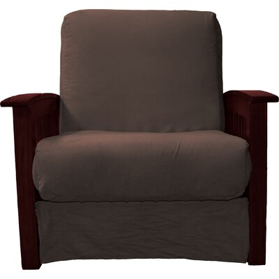 Grandview Chair Futon Chair Upholstery: Suede Chocolate Brown, Frame Finish: Mahogany Wood