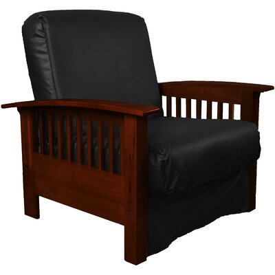 Grandview Chair Futon Chair Frame Finish: Mahogany Wood, Upholstery: Leather Look Black