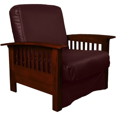 Grandview Chair Futon Chair Frame Finish: Mahogany Wood, Upholstery: Leather Look Bordeaux