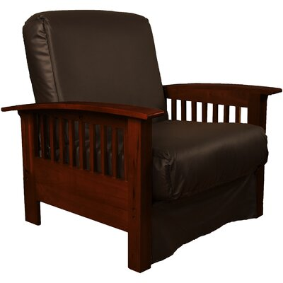 Grandview Chair Futon Chair Frame Finish: Mahogany Wood, Upholstery: Leather Look Brown