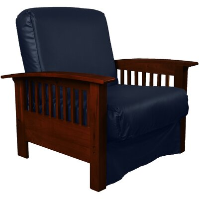 Grandview Chair Futon Chair Frame Finish: Mahogany Wood, Upholstery: Leather Look Navy