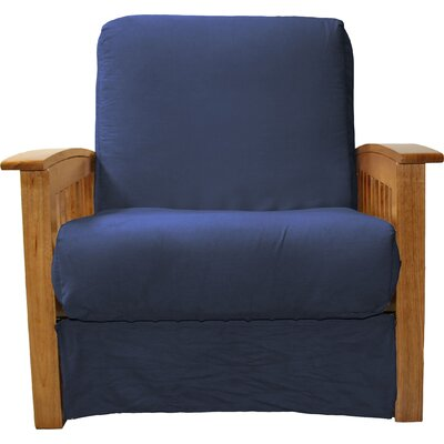 Grandview Chair Futon Chair Upholstery: Suede Dark Blue, Frame Finish: Medium Oak Wood