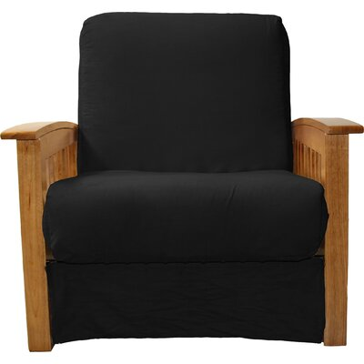 Grandview Chair Futon Chair Upholstery: Suede Ebony Black, Frame Finish: Medium Oak Wood