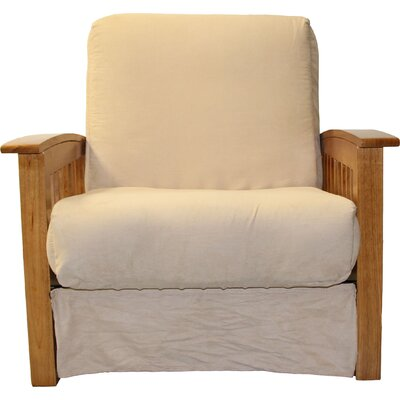 Grandview Chair Futon Chair Upholstery: Suede Khaki, Frame Finish: Medium Oak Wood