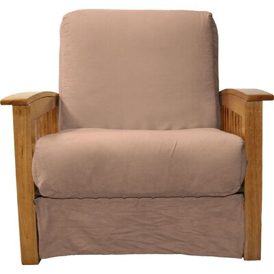 Grandview Chair Futon Chair Upholstery: Suede Mocha Brown, Frame Finish: Medium Oak Wood
