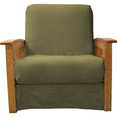 Grandview Chair Futon Chair Frame Finish: Medium Oak Wood, Upholstery: Suede Olive Green