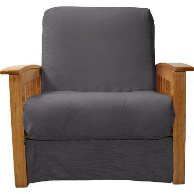 Grandview Chair Futon Chair Frame Finish: Medium Oak Wood, Upholstery: Suede Slate Grey