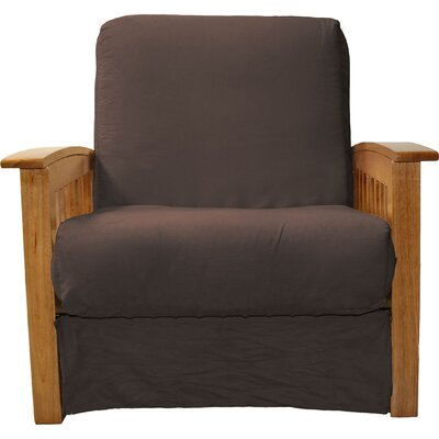 Grandview Chair Futon Chair Upholstery: Suede Chocolate Brown, Frame Finish: Medium Oak Wood