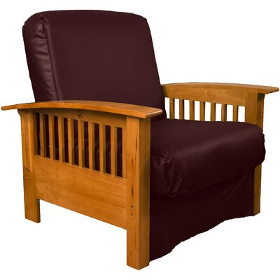 Grandview Chair Futon Chair Frame Finish: Medium Oak Wood, Upholstery: Leather Look Bordeaux