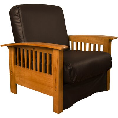 Grandview Chair Futon Chair Frame Finish: Medium Oak Wood, Upholstery: Leather Look Brown