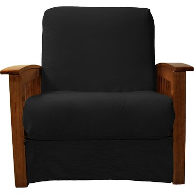 Grandview Chair Futon Chair Upholstery: Suede Ebony Black, Frame Finish: Walnut Wood