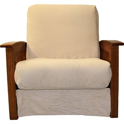 Grandview Chair Futon Chair Frame Finish: Walnut Wood, Upholstery: Suede Khaki