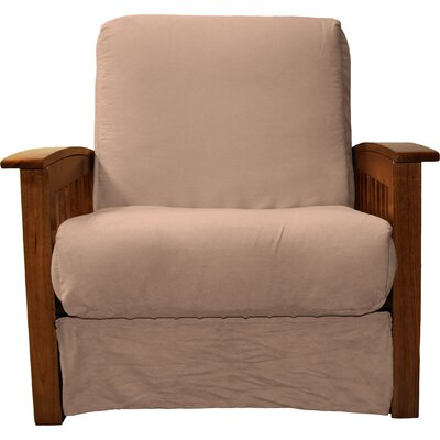 Grandview Chair Futon Chair Upholstery: Suede Mocha Brown, Frame Finish: Walnut Wood