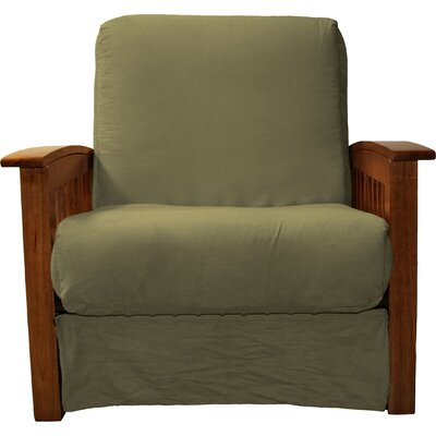 Grandview Chair Futon Chair Frame Finish: Walnut Wood, Upholstery: Suede Olive Green
