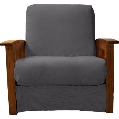 Grandview Chair Futon Chair Frame Finish: Walnut Wood, Upholstery: Suede Slate Grey