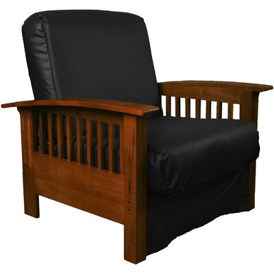 Grandview Chair Futon Chair Frame Finish: Walnut Wood, Upholstery: Leather Look Black