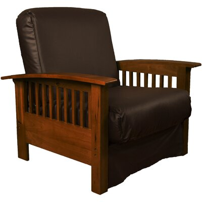 Grandview Chair Futon Chair Frame Finish: Walnut Wood, Upholstery: Leather Look Brown