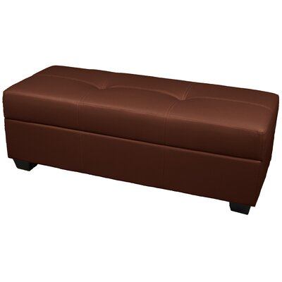 Grace Ottoman Upholstery: Leather Look Saddle Brown